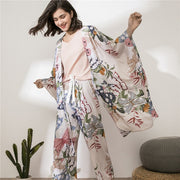 4 Pieces Floral Printed Nightwear Suit