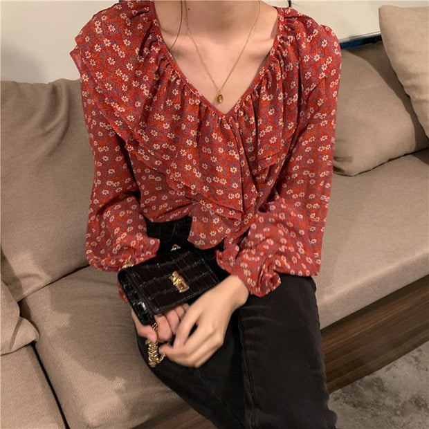 elegant autumn ruffles v collar tops