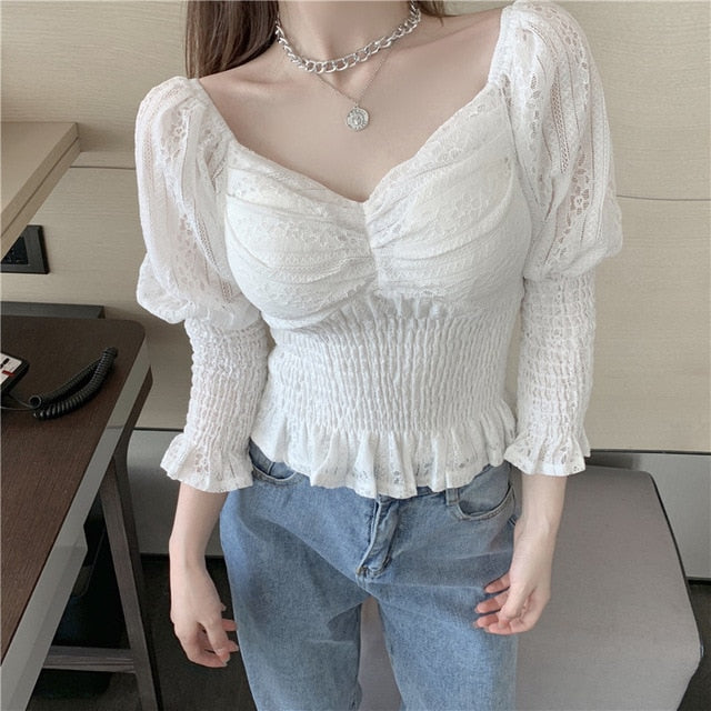 2021 spring autumn v-neck top women