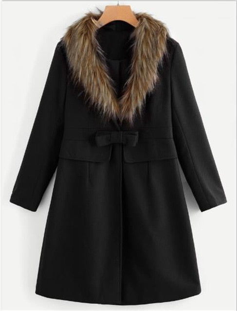 Wool Jacket Women Fur Collar