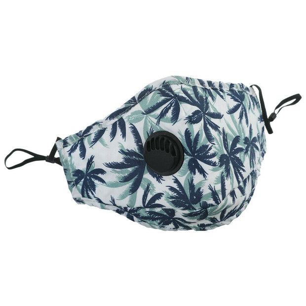 Navy Palm Tree with Valve Double Layered Washable Cotton Face Mask