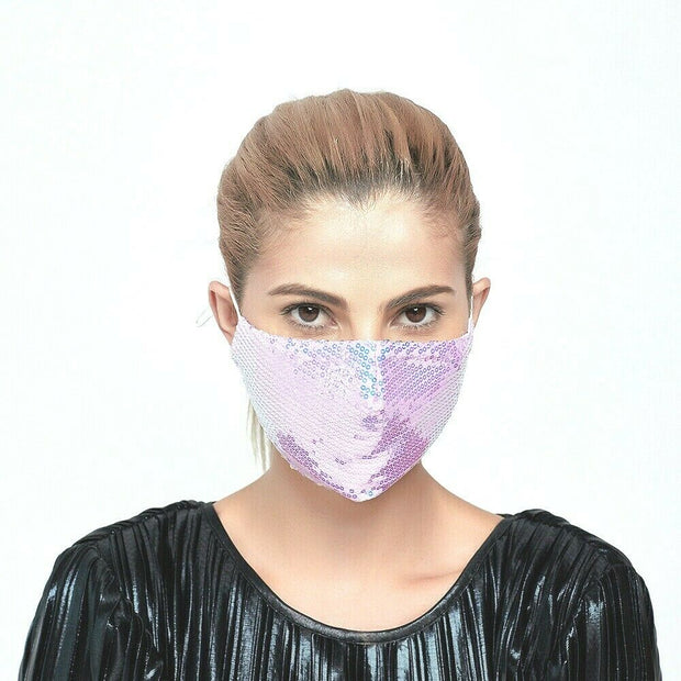 Lilac Sequence Double Layered Washable Cotton Face Mask