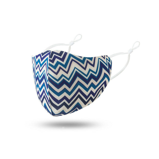 Blue Zigzag Washable Polyester  Face Mask
