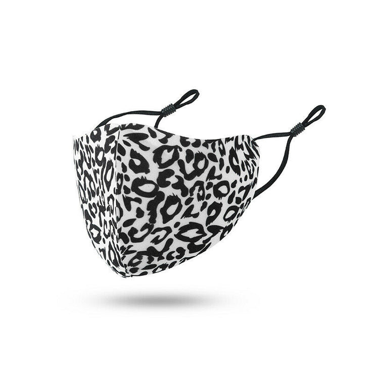 Black & White Leopard Polyester Face Mask