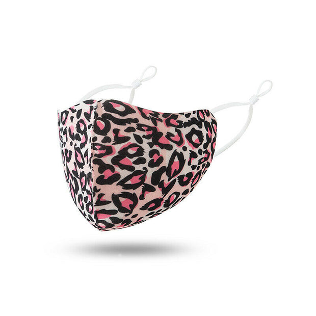 Pink Leopard Polyester Face Mask