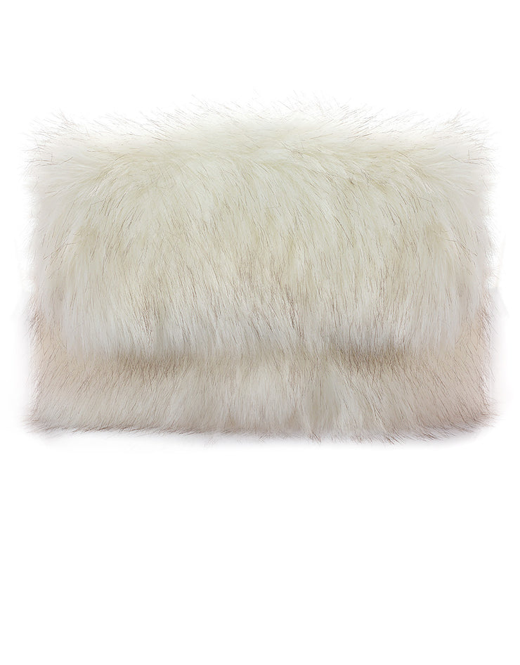 White Fur Folded Clutch Bag
