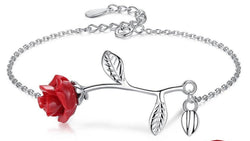 ELESHE Luxury Real 925 Sterling Silver Bracelet with Red Rose Flower Charm Bracelet & Bangles for Women Wedding Fine Jewelry Pegasus-square