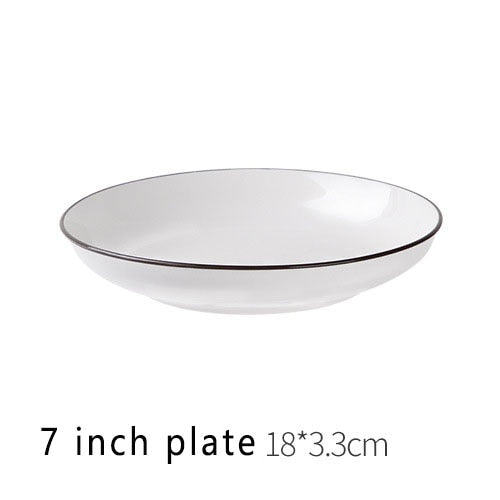 White Dinner Plate Ceramic Kitchen Plate