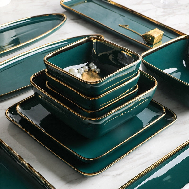 Green Ceramic Dinner Set