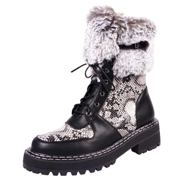 Fedonas Fur Punk Snow Boots for Women