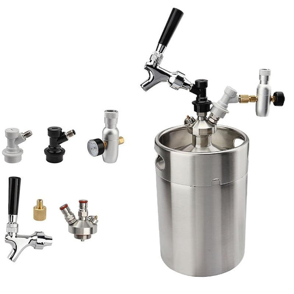 5L Mini Beer Keg Growler With Tap Faucet and CO2 Injector
