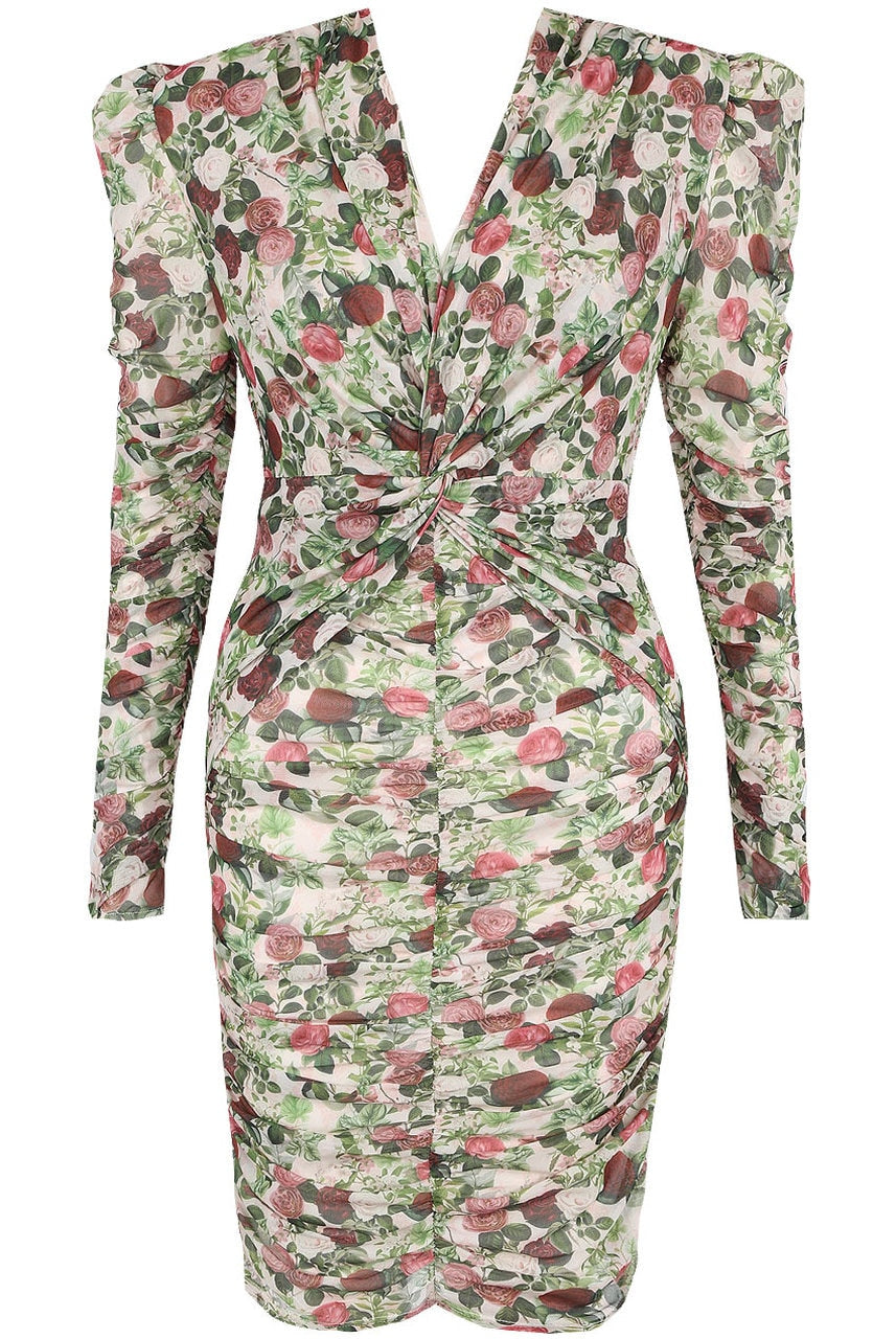 Flower Power | Floral Twist Front Ruched Mini Dress