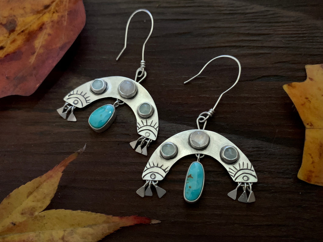 Rain Bursts: Aquamarine, Moonstone and Turquoise