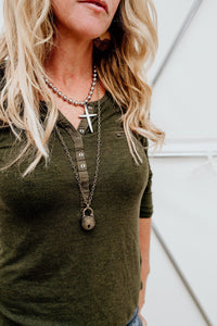 Oversized Ball Chain Silver Cross Necklace