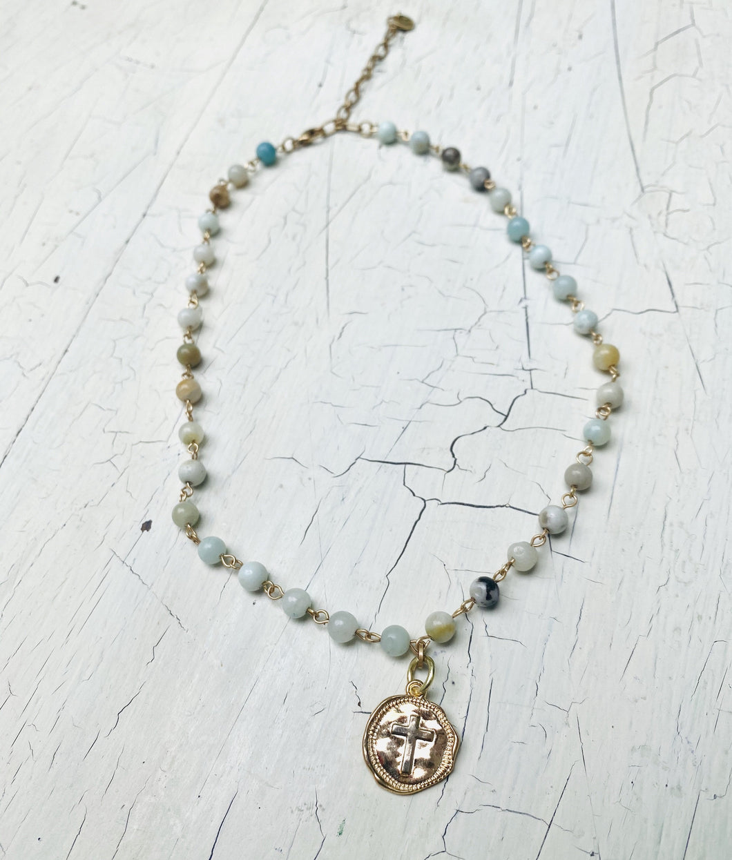 Petite gemstone link stamped cross necklace
