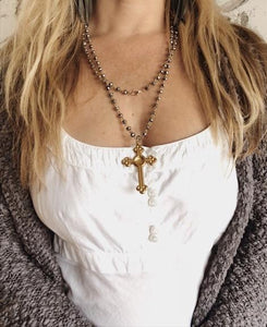 Mixed metals bezel bead wrap necklace with vintage antique brass cross