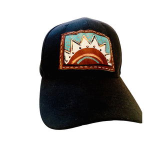 Hand Painted Leather & Black Trucker Hat