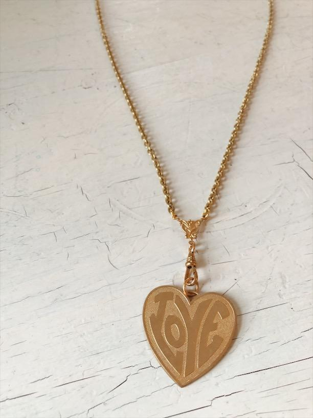 Vintage Hippie LOVE antique gold chain necklace