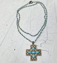 Load image into Gallery viewer, Long or Layered Boho-Beaded Cross Necklace