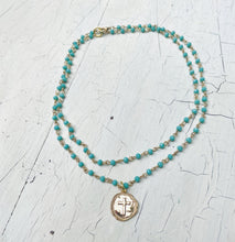 Load image into Gallery viewer, Layered Turquoise Pressed Cross Necklace