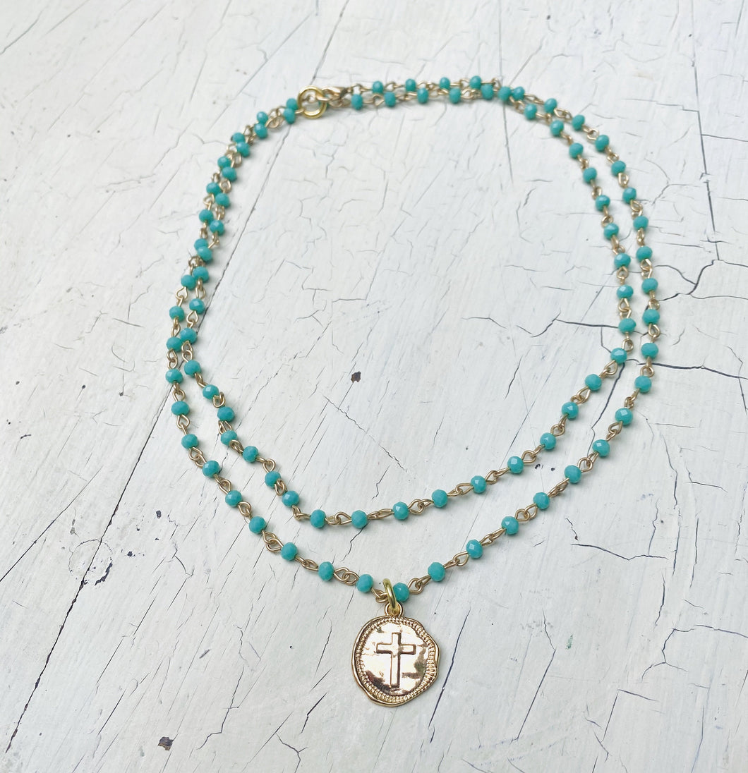 Layered Turquoise Pressed Cross Necklace