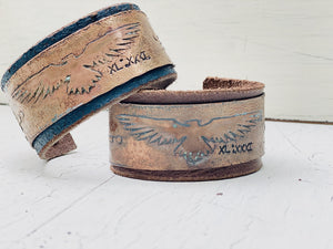Leather and Etched Copper cuff