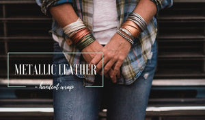 Metallic Silver Hand Dyed Leather Wrap Bracelet