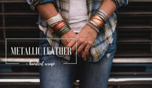 Load image into Gallery viewer, Metallic Green Hand Dyed Leather Wrap Bracelet