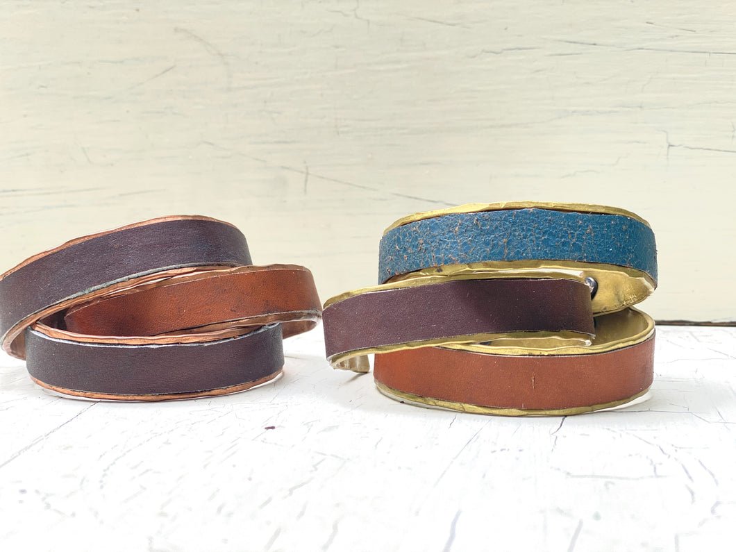Hand crafted mixed metal/leather bangle