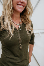 Load image into Gallery viewer, Oversized Ball Chain Silver Cross Necklace