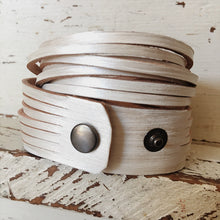 Load image into Gallery viewer, Metallic Pearly White Hand Dyed Leather Wrap Bracelet