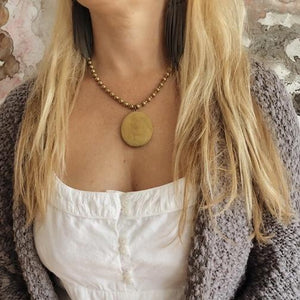 Vintage Locket & Antique Gold Ball Chain Necklace