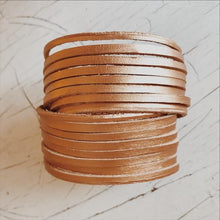 Load image into Gallery viewer, Metallic Gold Hand Dyed Leather Wrap Bracelet