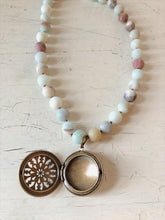 Load image into Gallery viewer, Unpolished Amazonite Statement Necklace with Antique Locket