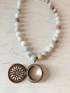 Unpolished Amazonite Statement Necklace with Antique Locket