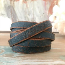 Load image into Gallery viewer, Hand Cut Leather Wrap Bracelet