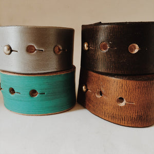 Leather Cuff Bracelet for Women- Never Give Up