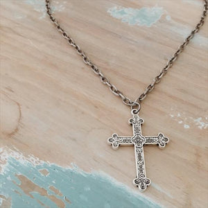 Cross on Silver Link Chain