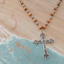 Load image into Gallery viewer, Bead Chain Cross Necklace