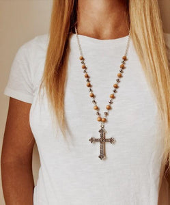 Bead Chain Cross Necklace