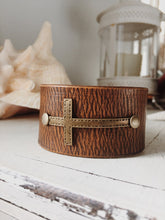 Load image into Gallery viewer, Cross Bracelet - Leather Cuff