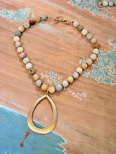 Load image into Gallery viewer, Unpolished Amazonite Statement Necklace with Brushed Gold Drop