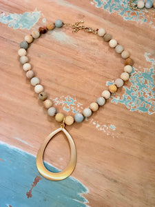Unpolished Amazonite Statement Necklace with Brushed Gold Drop