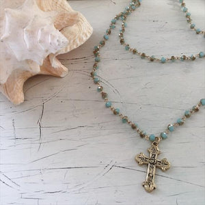 cross pendant statement necklace