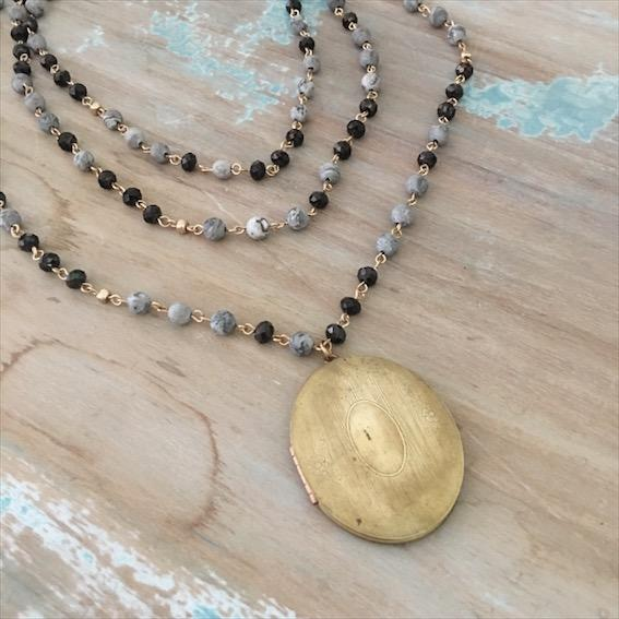 Gemstone bead wrap necklace with Vintage Locket