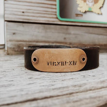 Load image into Gallery viewer, Custom Coordinates Bracelet for Men, Custom Leather Bracelet for Men