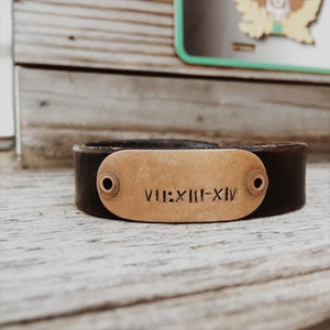 Custom Coordinates Bracelet for Men, Custom Leather Bracelet for Men