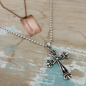Ball Chain Cross Necklace