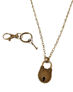 Valentines Day Vintage Lock & Key Necklace & Key Chain Set