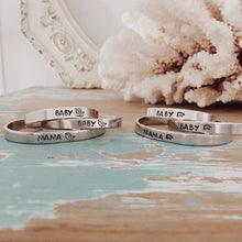 Load image into Gallery viewer, Mama Bird & Baby Bird Set of 2 Silver stacking cuffs